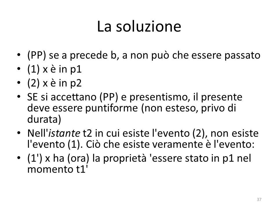 La soluzione (PP) se a precede b, a non può che essere passato
