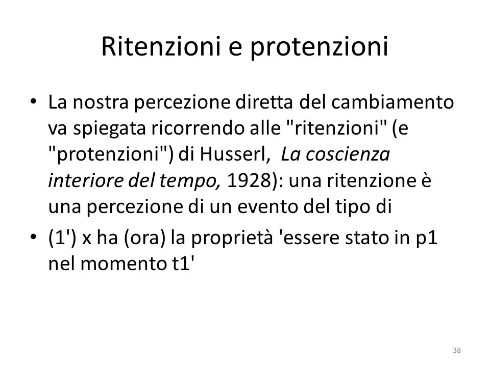 Ritenzioni e protenzioni