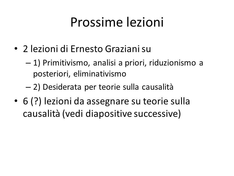 Prossime lezioni 2 lezioni di Ernesto Graziani su
