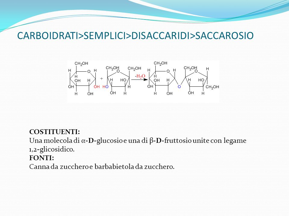 CARBOIDRATI>SEMPLICI>DISACCARIDI>SACCAROSIO