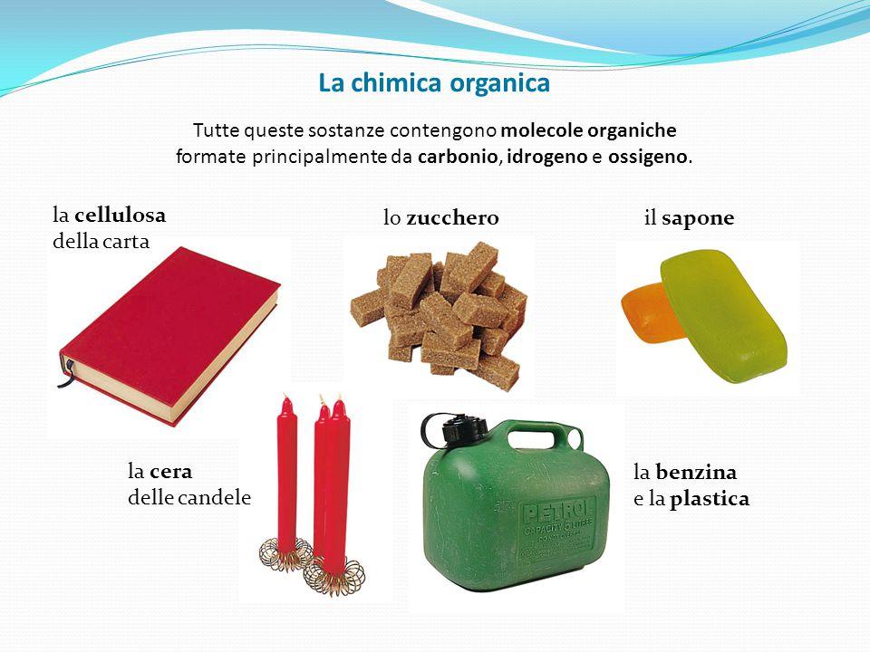 La chimica organica Tutte queste sostanze contengono molecole organiche formate principalmente da carbonio, idrogeno e ossigeno.