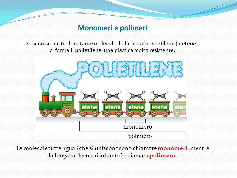 Monomeri e polimeri Se si uniscono tra loro tante molecole dell'idrocarburo etilene (o etene), si forma il polietilene, una plastica molto resistente.