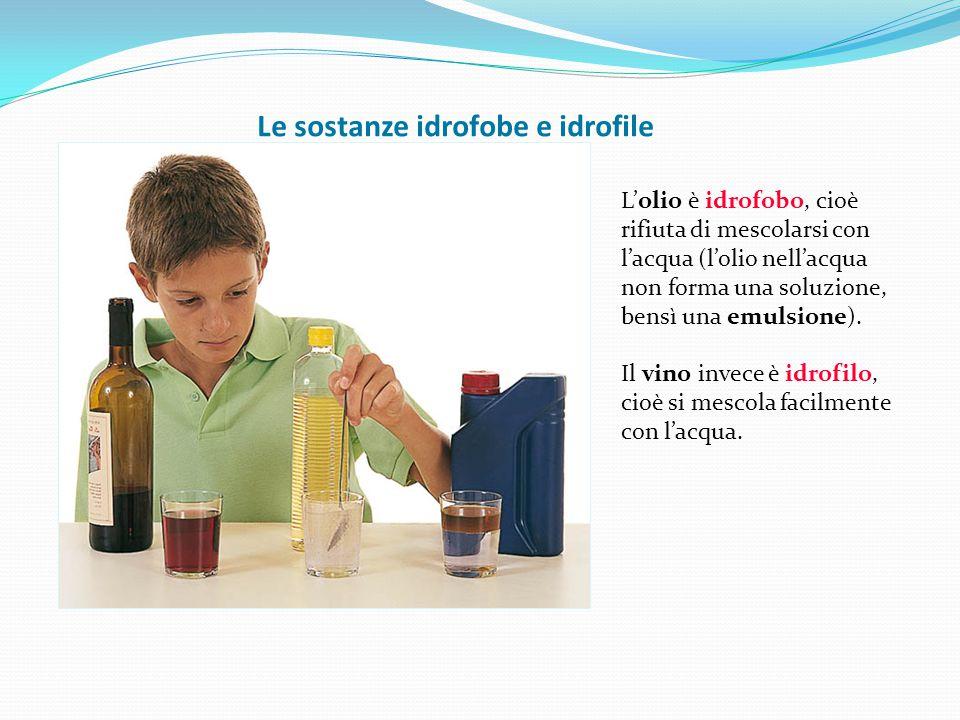 Le sostanze idrofobe e idrofile