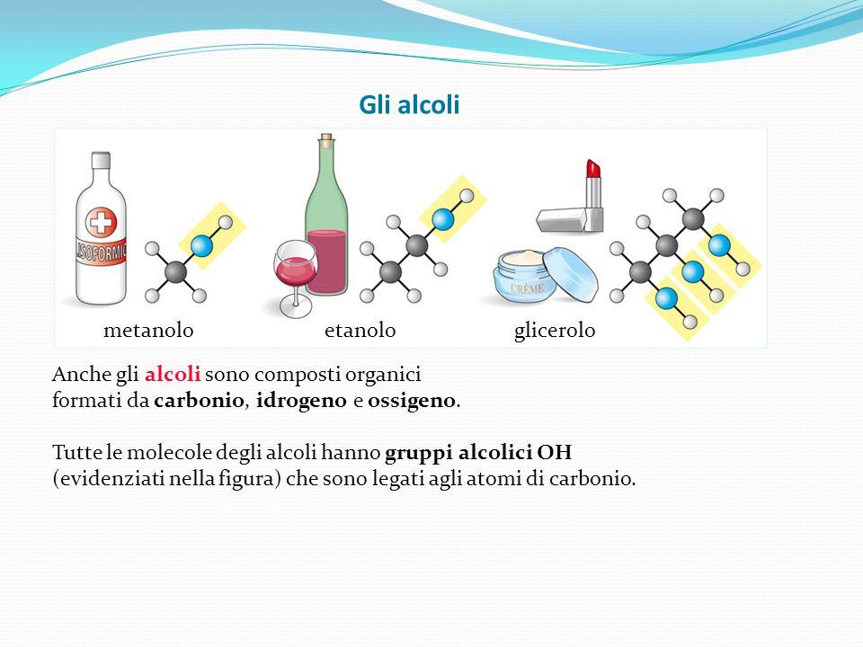 Gli alcoli metanolo etanolo glicerolo