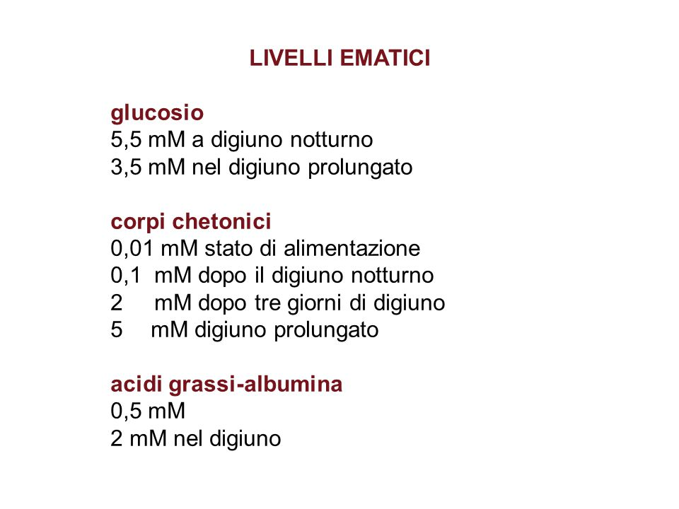 LIVELLI EMATICI glucosio. 5,5 mM a digiuno notturno. 3,5 mM nel digiuno prolungato. corpi chetonici.