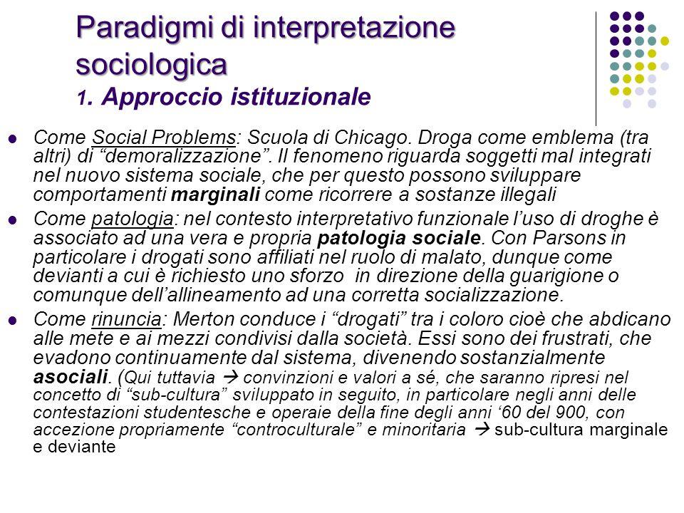 Paradigmi di interpretazione sociologica 1. Approccio istituzionale