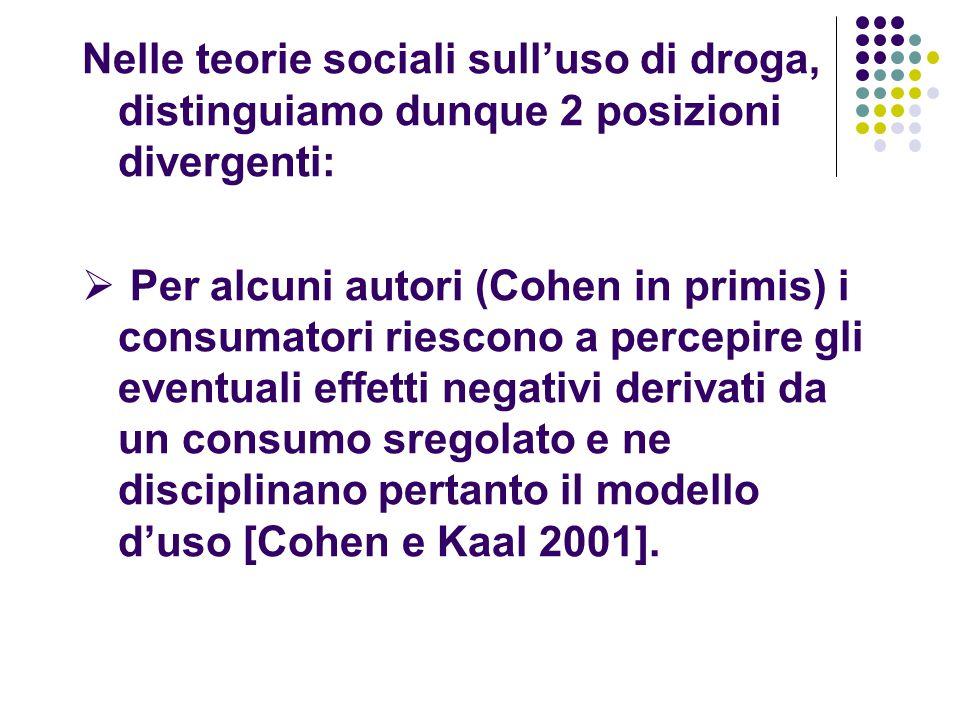 Nelle teorie sociali sull'uso di droga, distinguiamo dunque 2 posizioni divergenti: