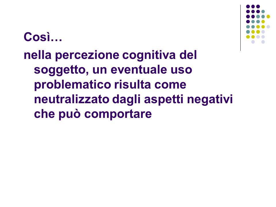 Così… nella percezione cognitiva del soggetto, un eventuale uso problematico risulta come neutralizzato dagli aspetti negativi che può comportare.