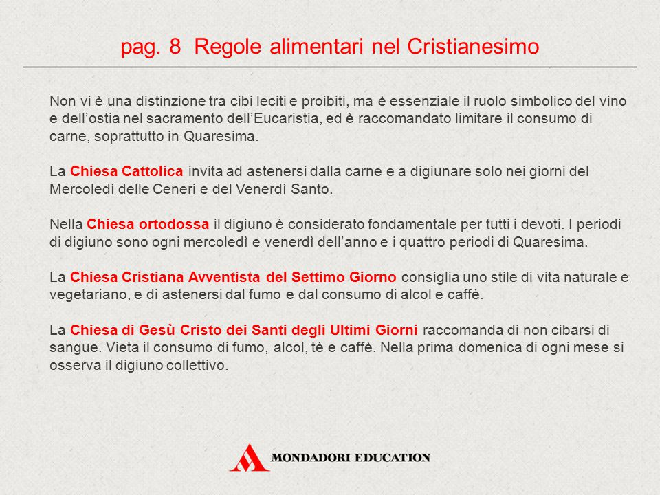 pag. 8 Regole alimentari nel Cristianesimo