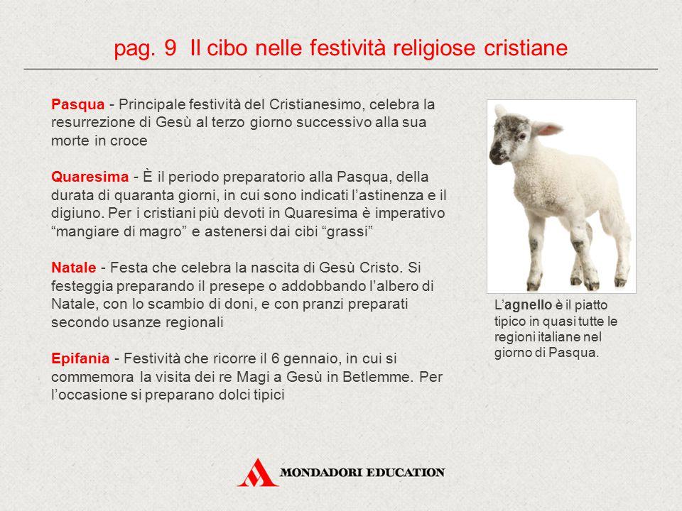 pag. 9 Il cibo nelle festività religiose cristiane