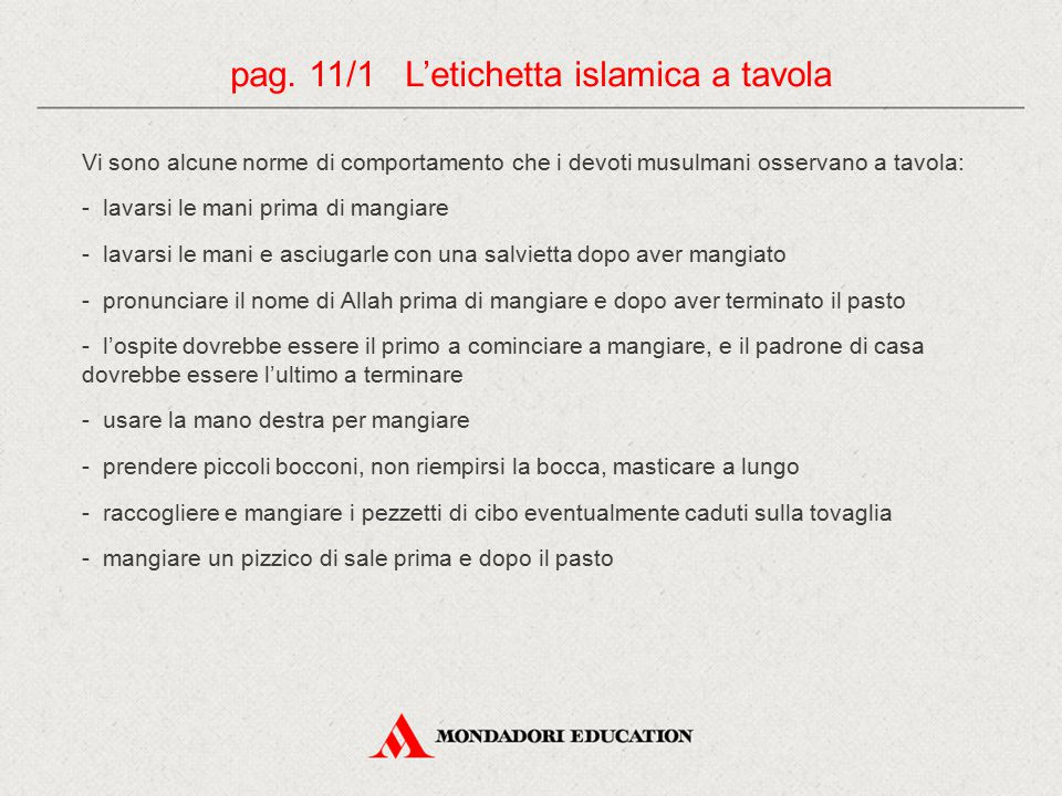 pag. 11/1 L'etichetta islamica a tavola