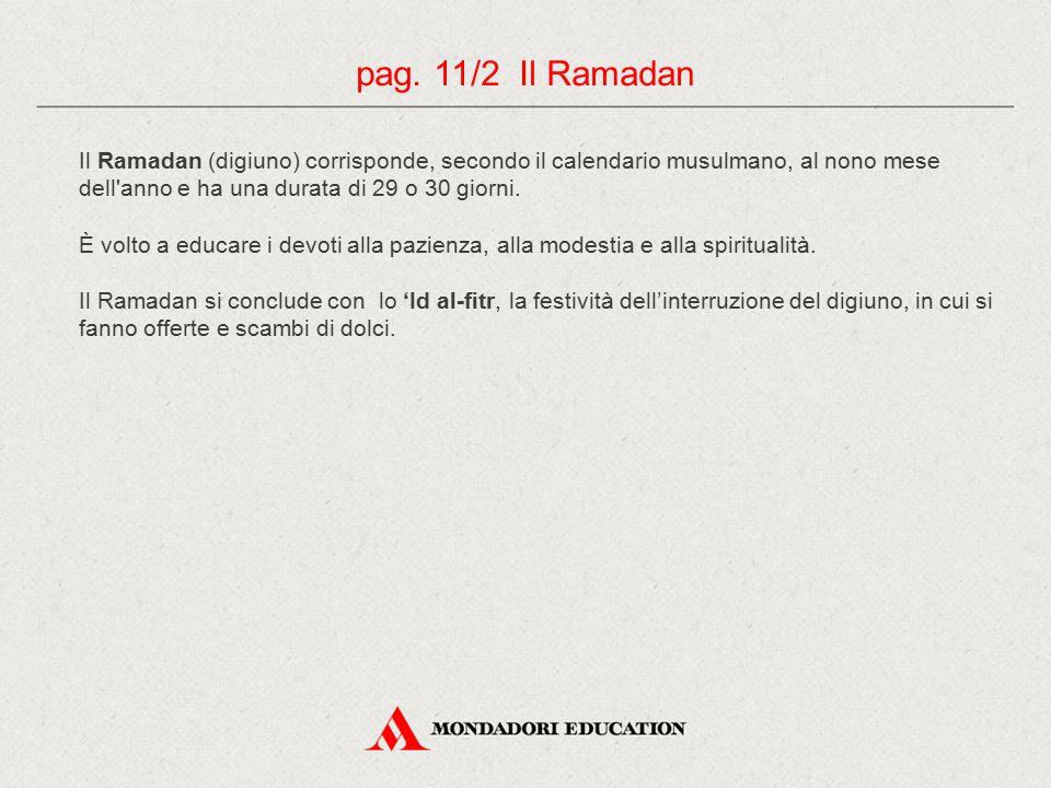 pag. 11/2 Il Ramadan Il Ramadan (digiuno) corrisponde, secondo il calendario musulmano, al nono mese dell anno e ha una durata di 29 o 30 giorni.