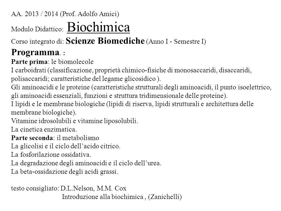 Programma. : Parte prima: le biomolecole