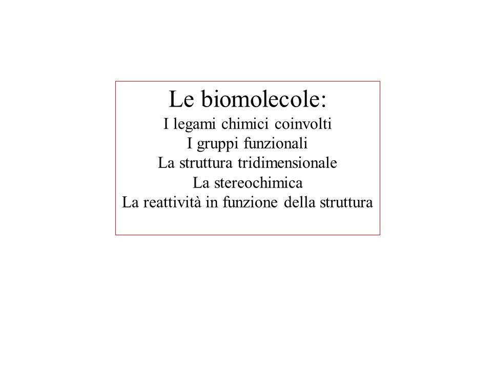 Le biomolecole: I legami chimici coinvolti I gruppi funzionali