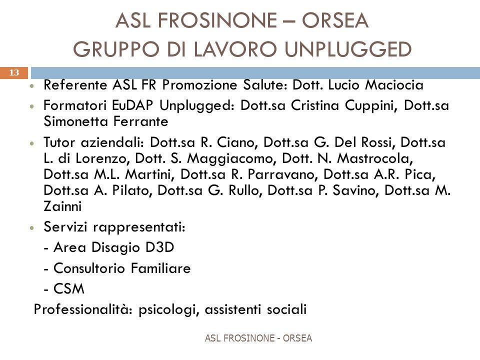 ASL FROSINONE – ORSEA GRUPPO DI LAVORO UNPLUGGED