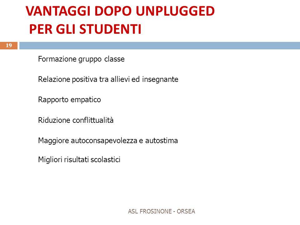 VANTAGGI DOPO UNPLUGGED PER GLI STUDENTI