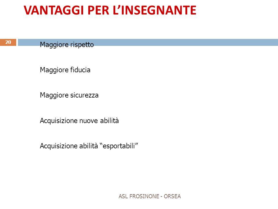 VANTAGGI PER L'INSEGNANTE
