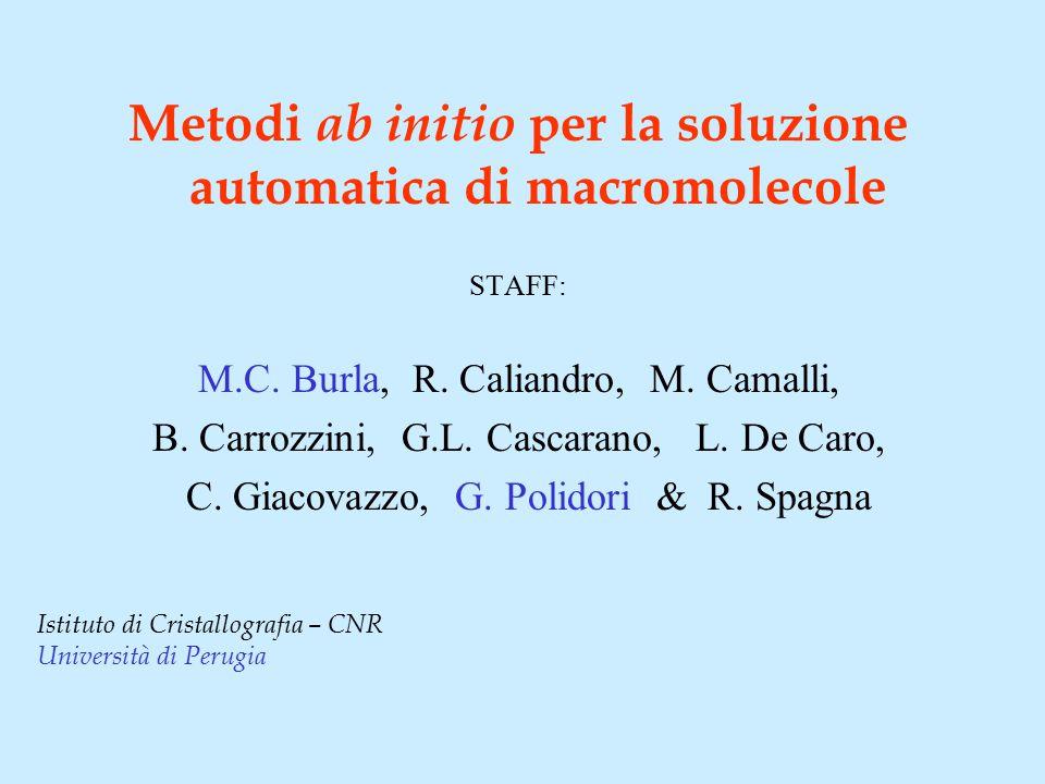 Metodi ab initio per la soluzione automatica di macromolecole