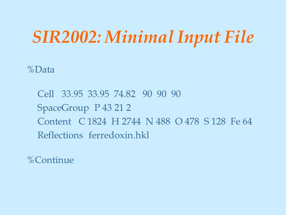 SIR2002: Minimal Input File