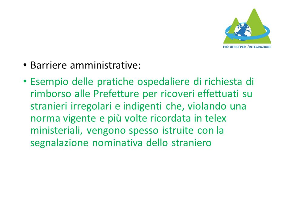 Barriere amministrative:
