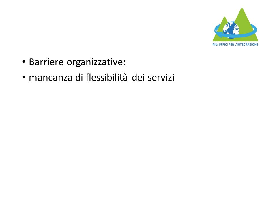 Barriere organizzative: