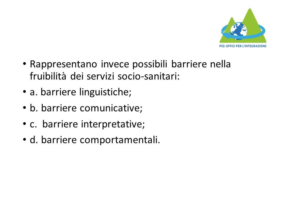 Rappresentano invece possibili barriere nella fruibilità dei servizi socio-sanitari: