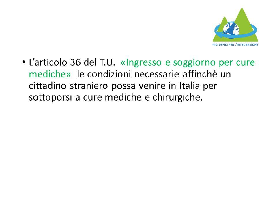 L'articolo 36 del T.U.