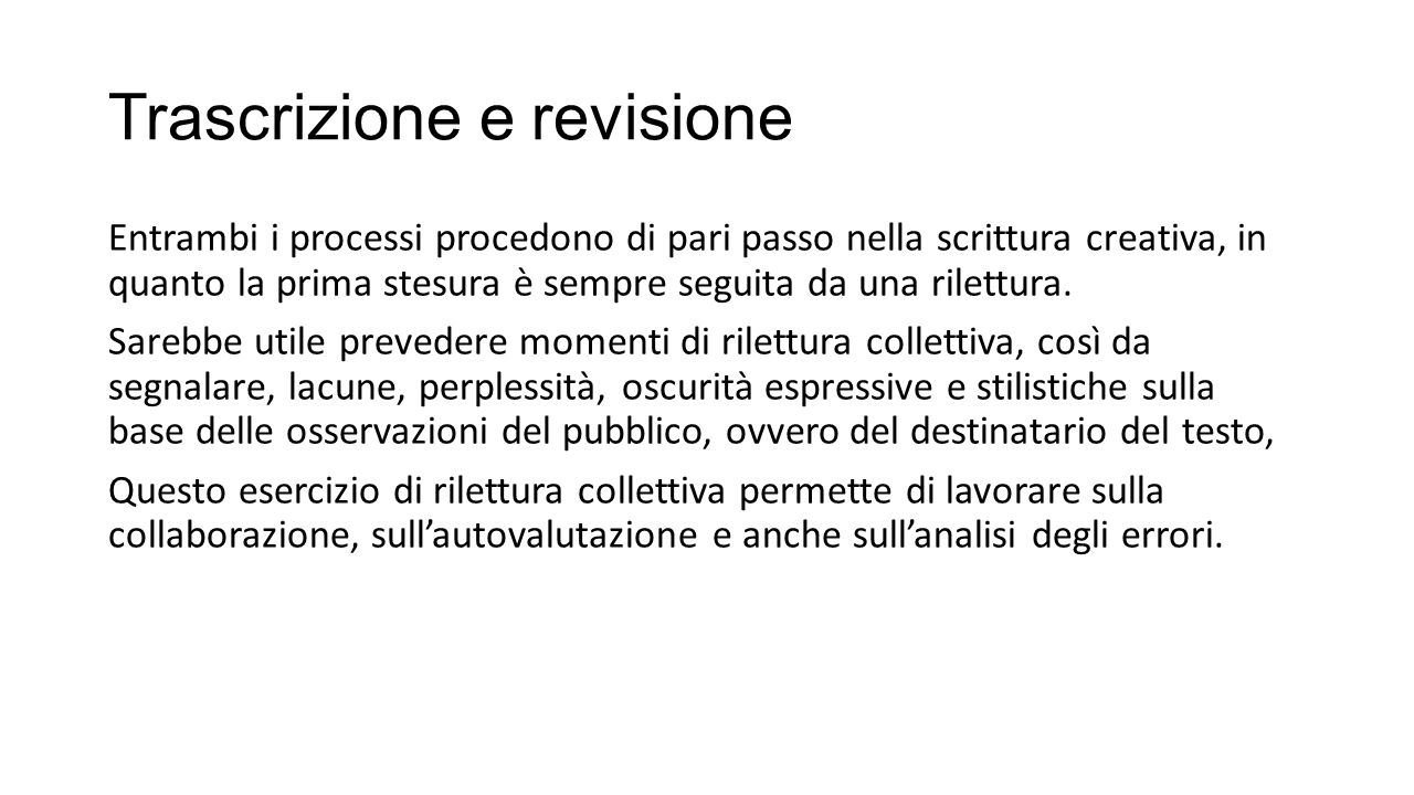Trascrizione e revisione