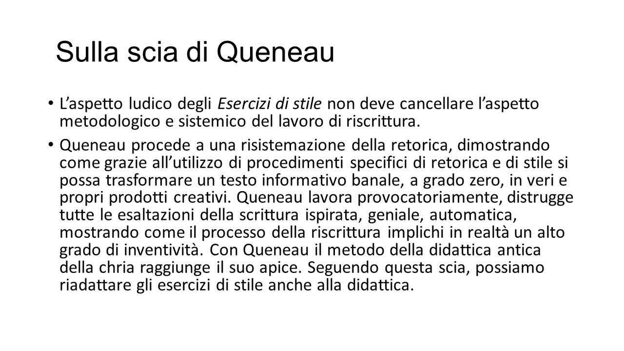 Sulla scia di Queneau L'aspetto ludico degli Esercizi di stile non deve cancellare l'aspetto metodologico e sistemico del lavoro di riscrittura.