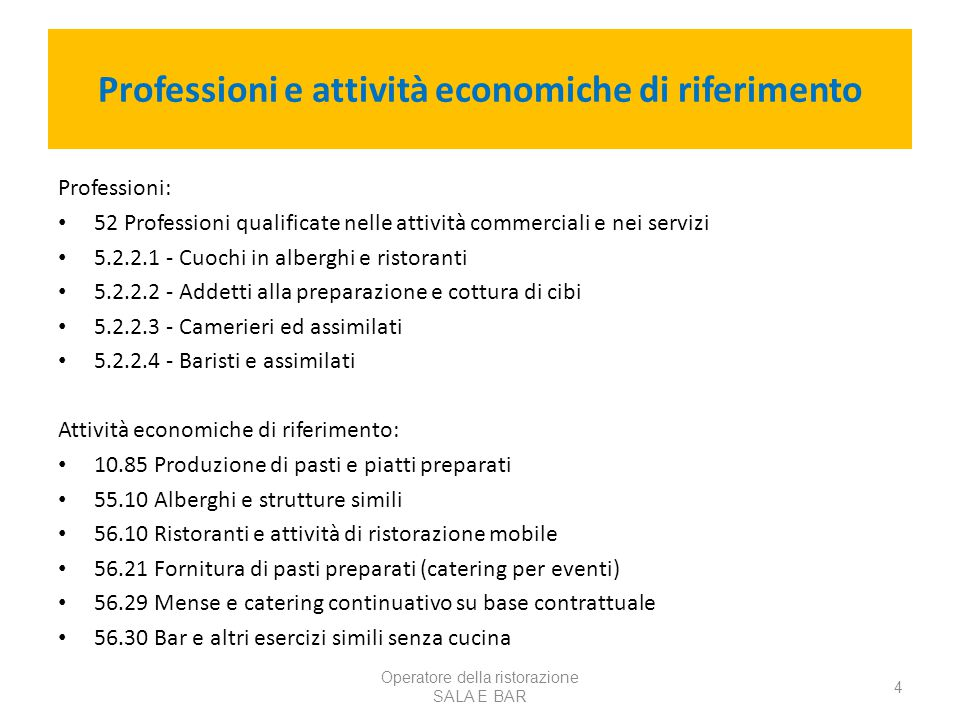 Professioni e attività economiche di riferimento