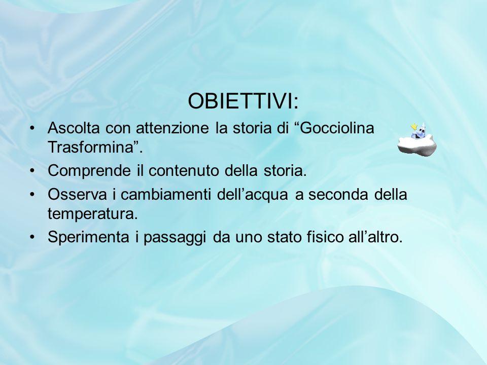 OBIETTIVI: Ascolta con attenzione la storia di Gocciolina Trasformina . Comprende il contenuto della storia.