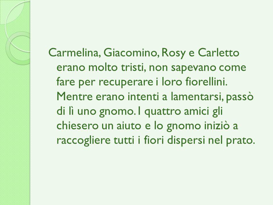 Carmelina, Giacomino, Rosy e Carletto erano molto tristi, non sapevano come fare per recuperare i loro fiorellini.