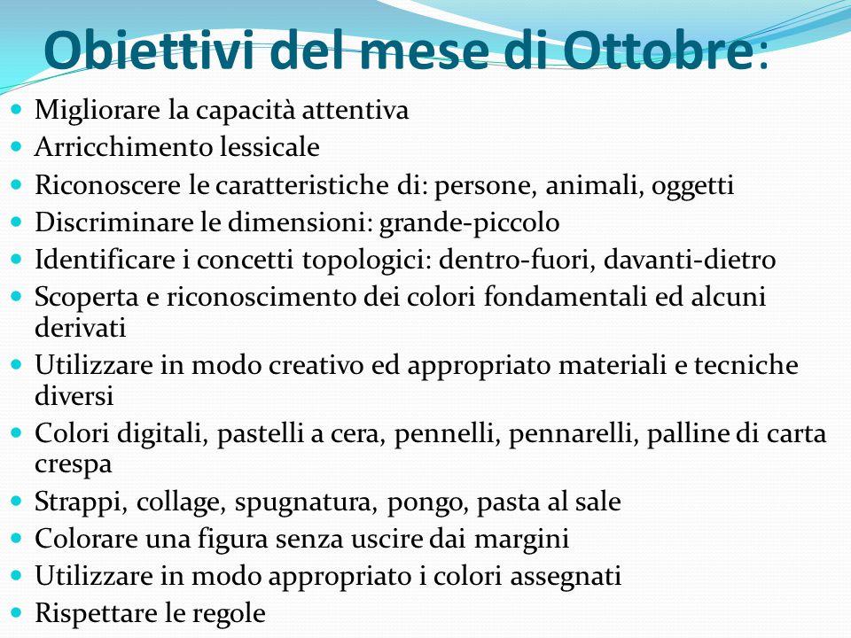 Obiettivi del mese di Ottobre: