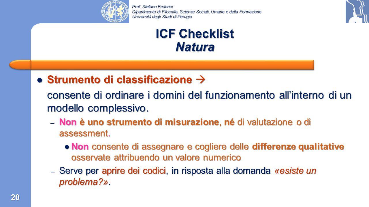 ICF Checklist Natura Strumento di classificazione 