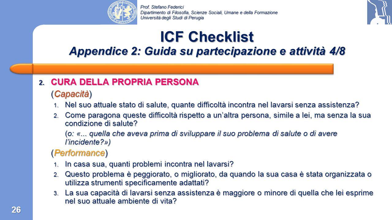 ICF Checklist Appendice 2: Guida su partecipazione e attività 4/8