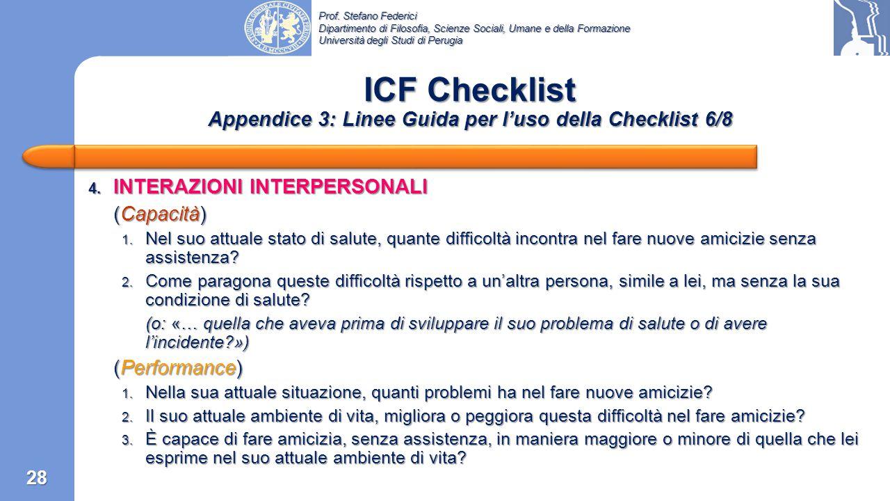 ICF Checklist Appendice 3: Linee Guida per l'uso della Checklist 6/8