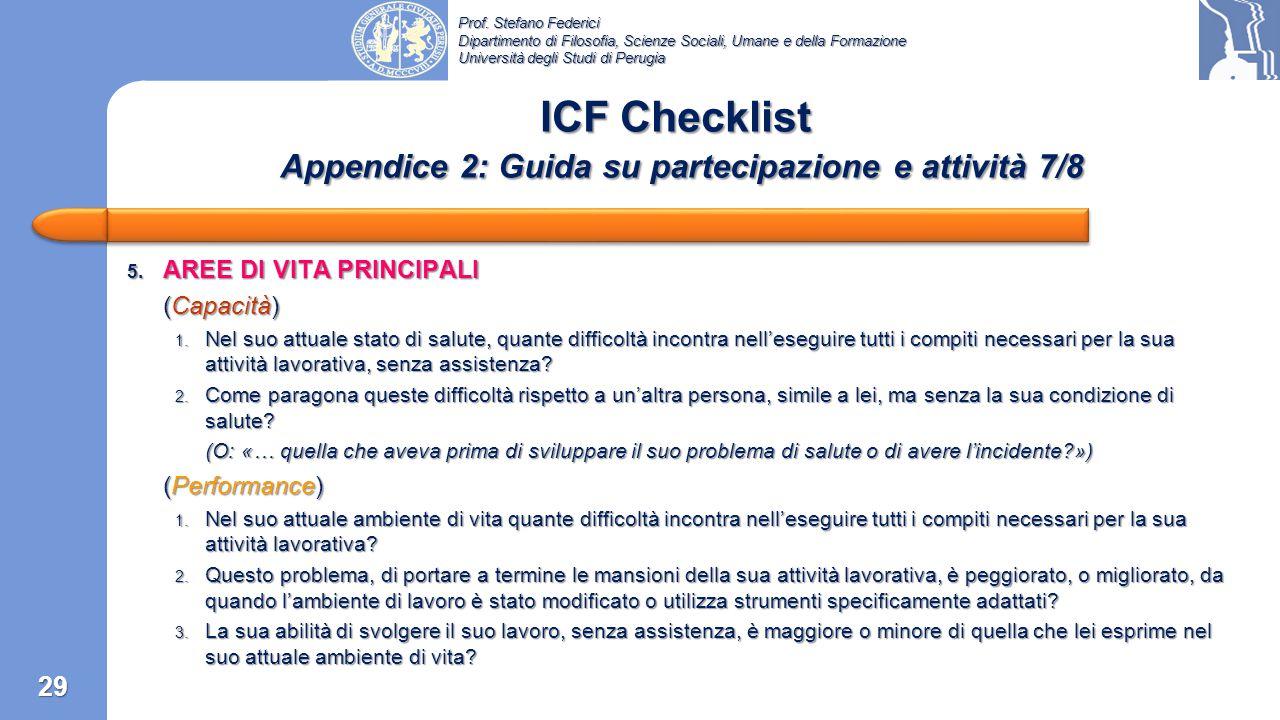 ICF Checklist Appendice 2: Guida su partecipazione e attività 7/8