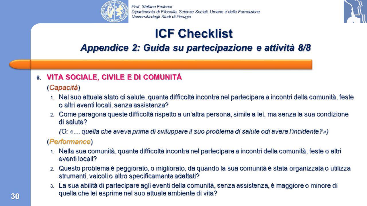 ICF Checklist Appendice 2: Guida su partecipazione e attività 8/8