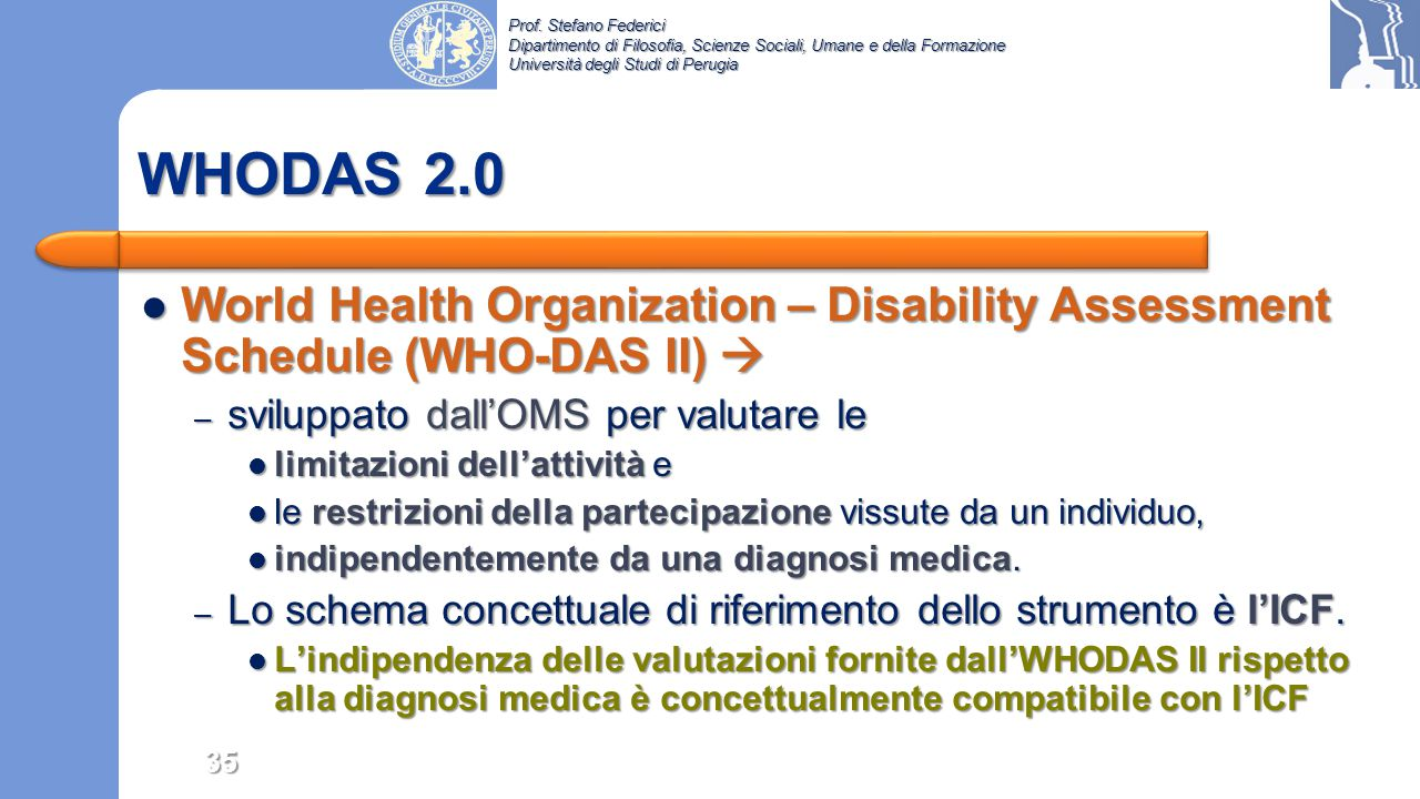 WHODAS 2.0 World Health Organization – Disability Assessment Schedule (WHO-DAS II)  sviluppato dall'OMS per valutare le.
