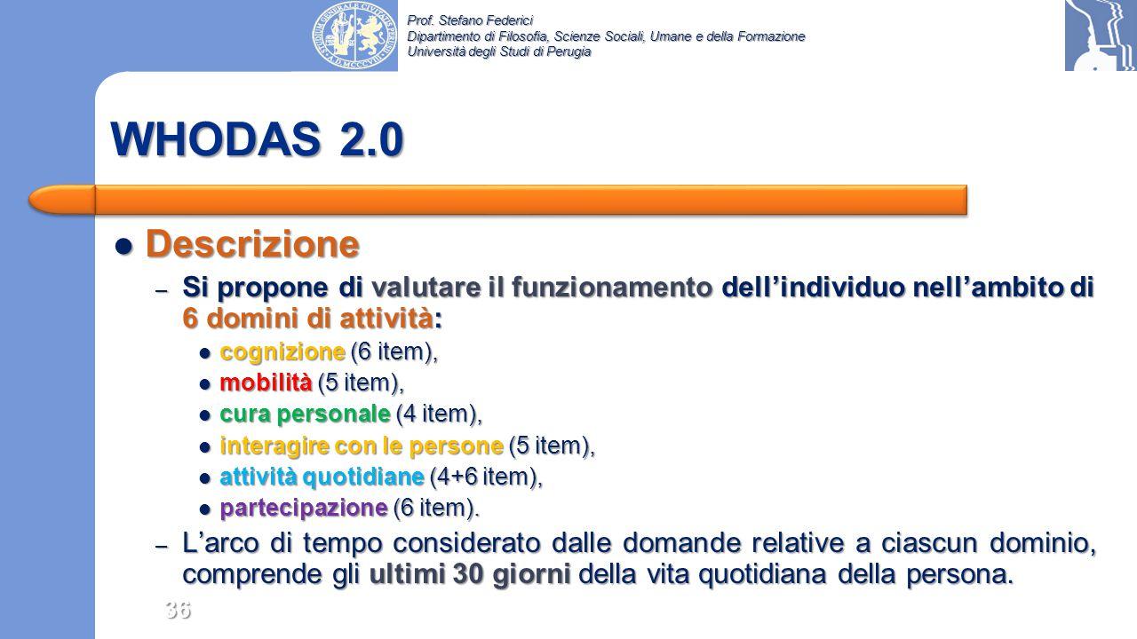 WHODAS 2.0 Descrizione. Si propone di valutare il funzionamento dell'individuo nell'ambito di 6 domini di attività: