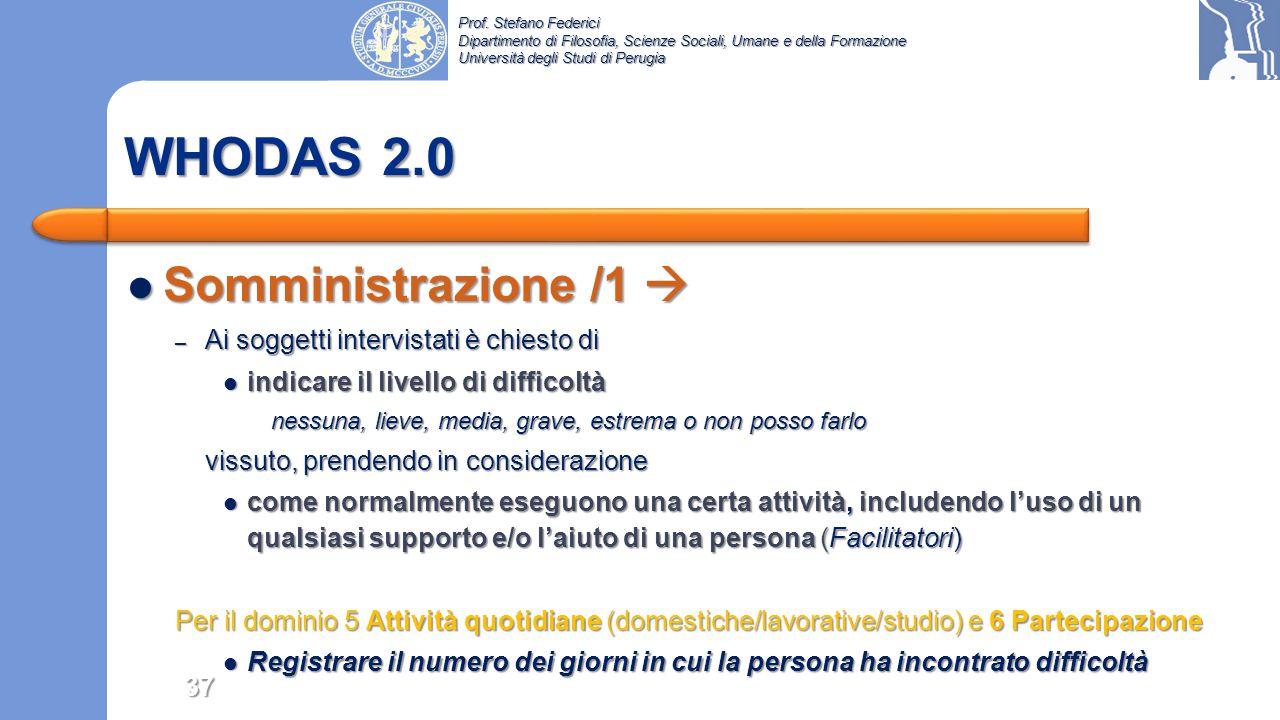 WHODAS 2.0 Somministrazione /1  Ai soggetti intervistati è chiesto di