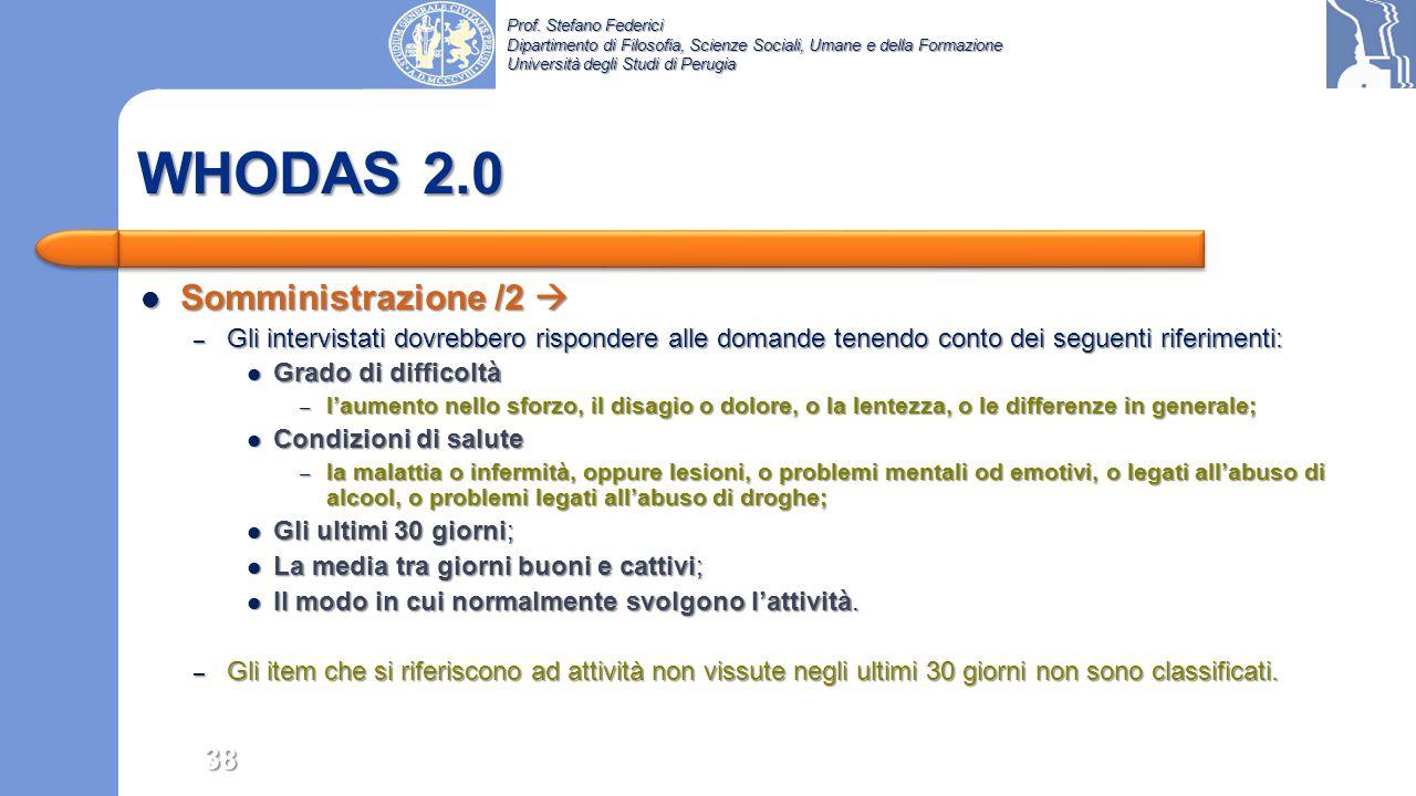 WHODAS 2.0 Somministrazione /2 