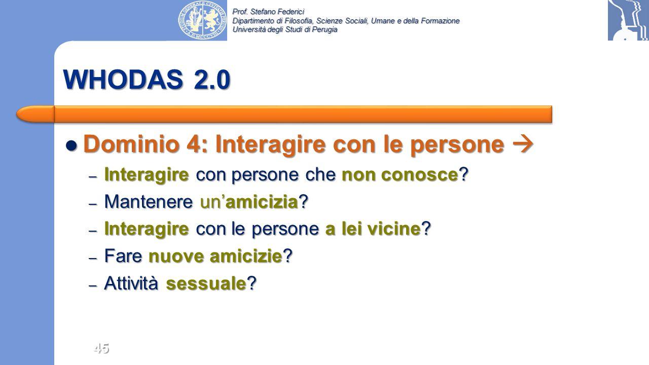 WHODAS 2.0 Dominio 4: Interagire con le persone 