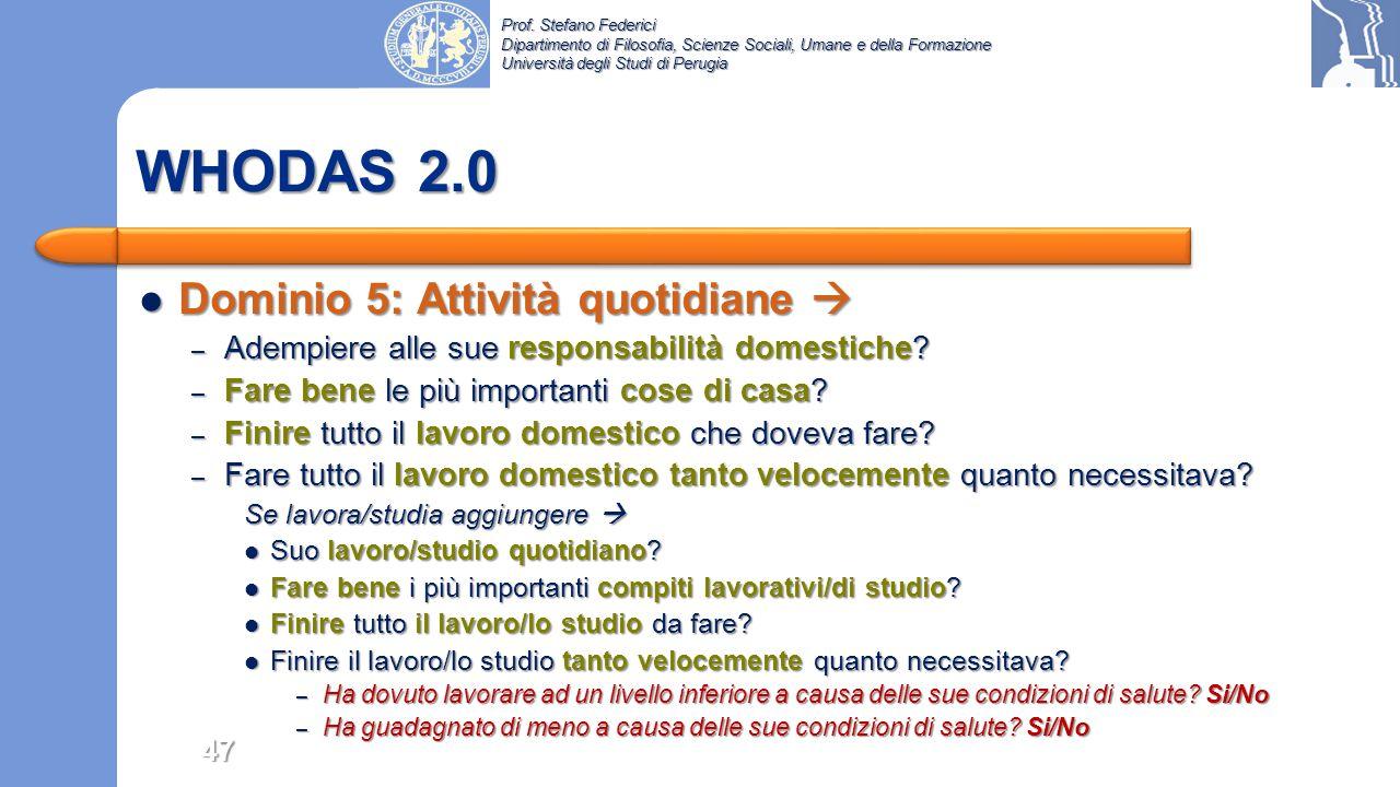 WHODAS 2.0 Dominio 5: Attività quotidiane 