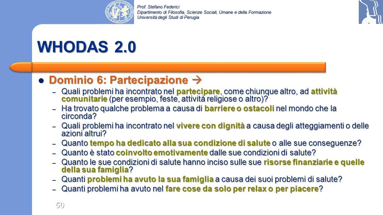 WHODAS 2.0 Dominio 6: Partecipazione 