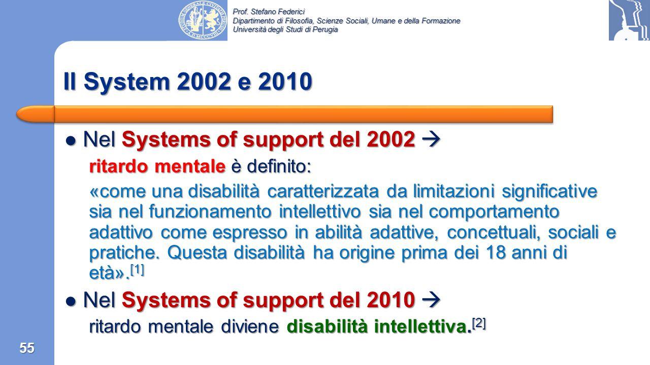 Il System 2002 e 2010 Nel Systems of support del 2002 