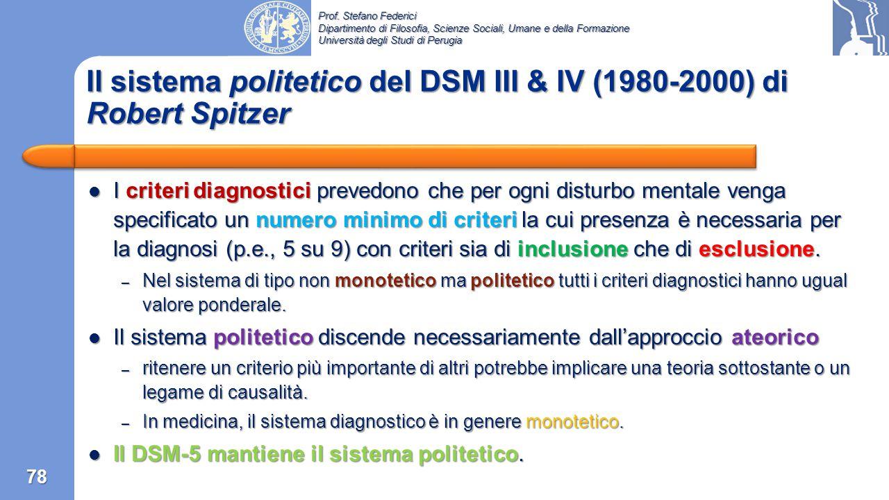 Il sistema politetico del DSM III & IV (1980-2000) di Robert Spitzer