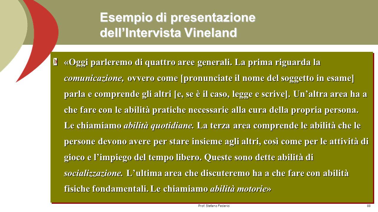 Esempio di presentazione dell'Intervista Vineland
