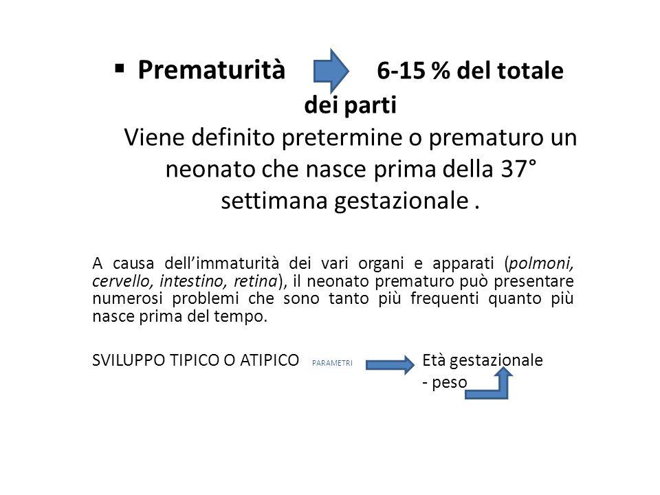 Prematurità 6-15 % del totale dei parti Viene definito pretermine o prematuro un neonato che nasce prima della 37° settimana gestazionale .