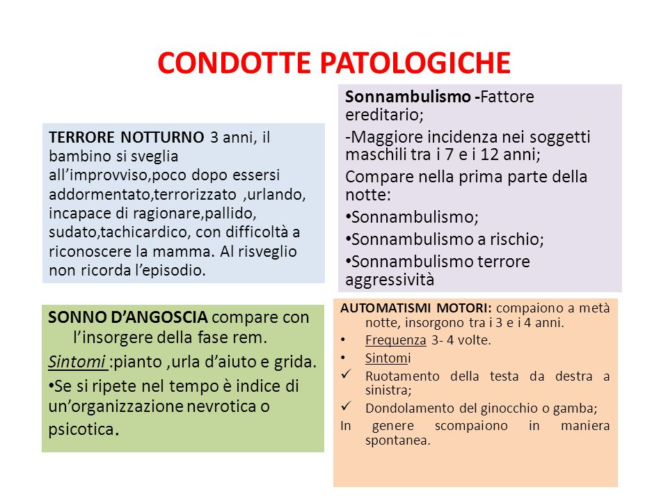 CONDOTTE PATOLOGICHE Sonnambulismo -Fattore ereditario;